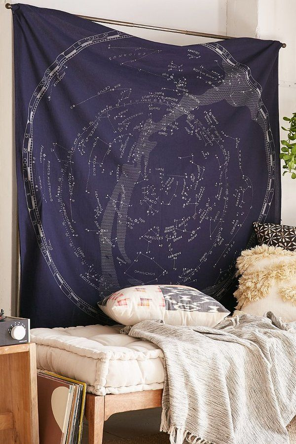 Sleep under the stars with a Glow-In-The-Dark Constellation Map Tapestry
