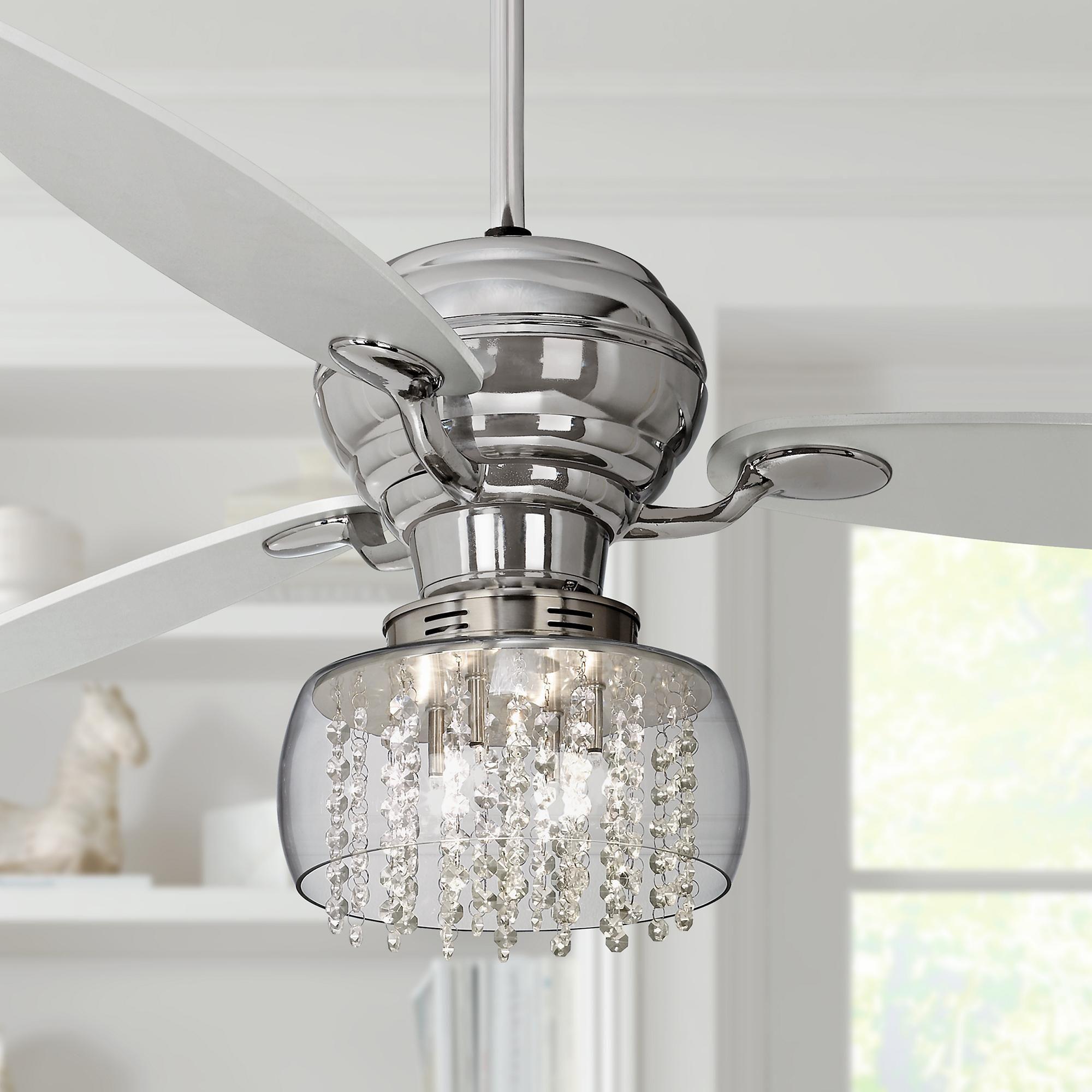 60 Inch Spyder Chrome Crystal Rainfall Led Ceiling Fan In 2020 Chrome Ceiling Fan Bedroom Ceiling Light Ceiling Fan