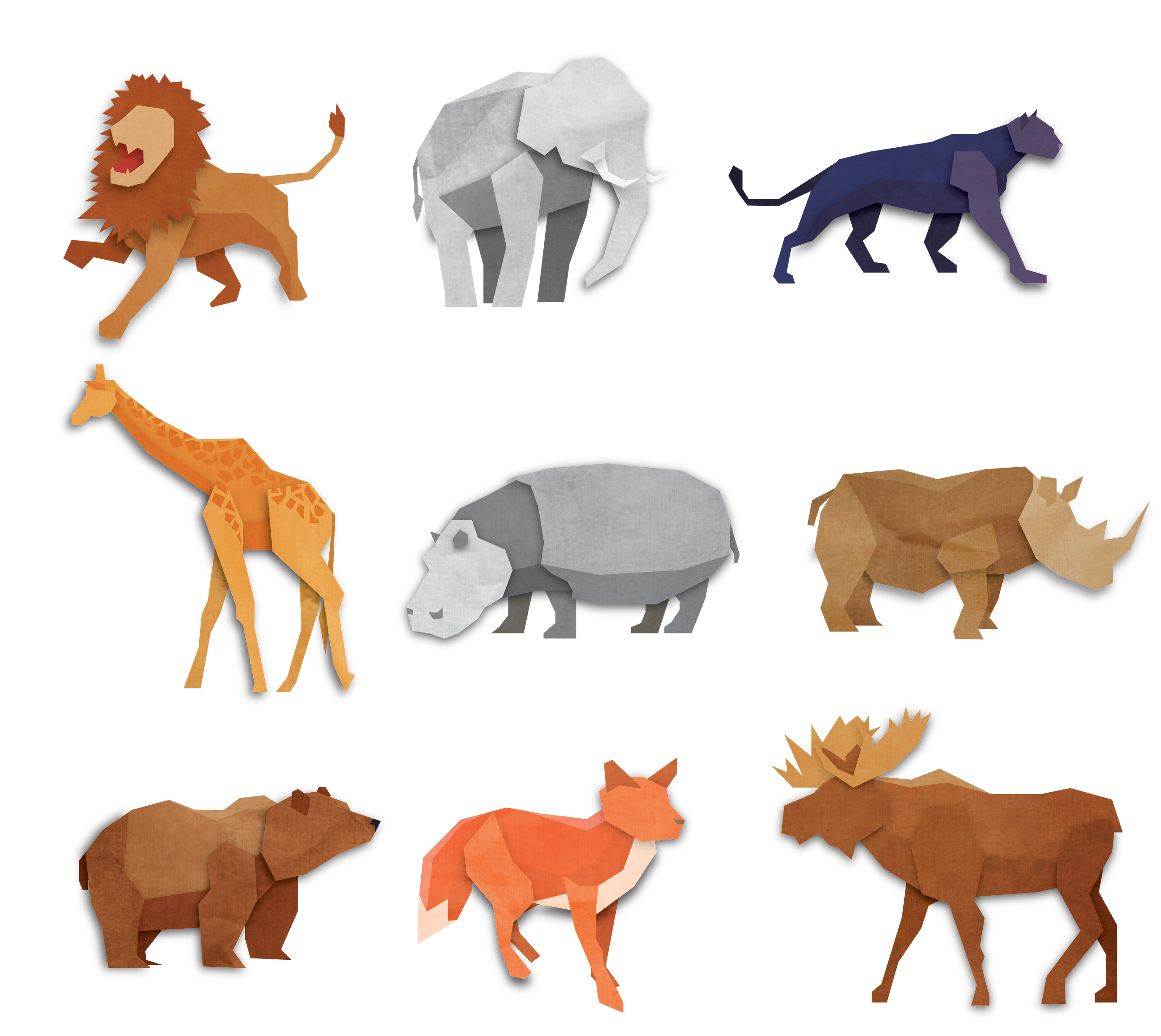 Free Origami Animals Vector Pack Free Vector 4vector Origami Animals Animal Illustration Animals