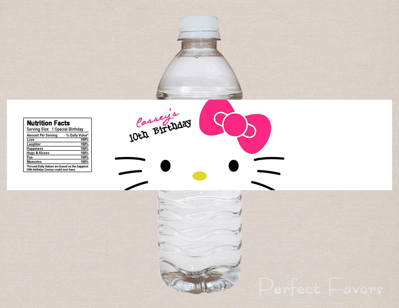 Nerd Hello Kitty Water Bottle Label 350 Via Etsy