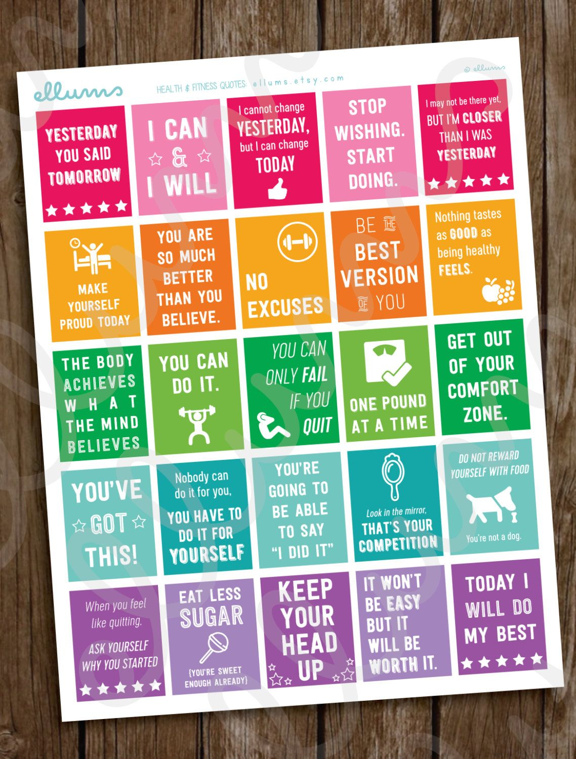 Fitness Planner Stickers | PRINTABLE Workout Motivational ...