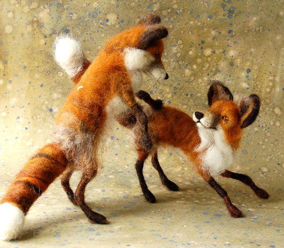 Needle Felted Fox by Sara Renzulli of Sarafina Fiber Art