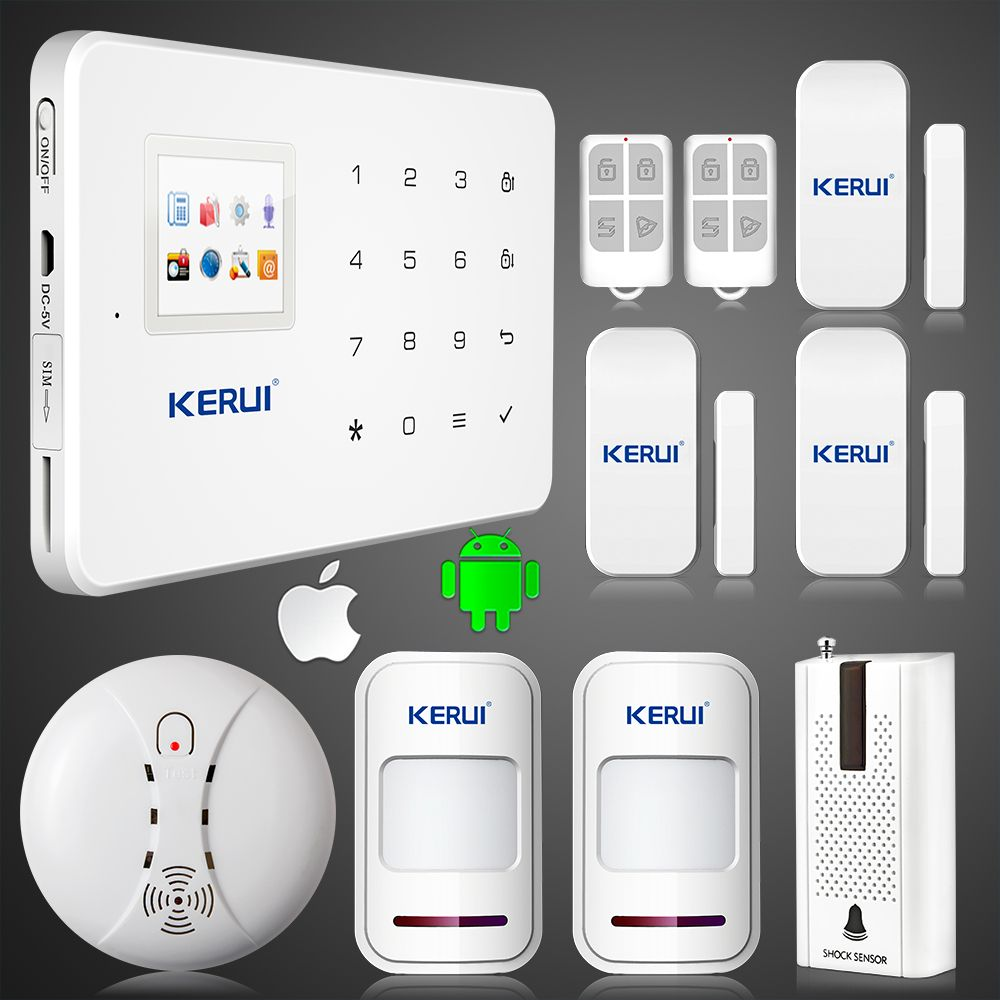 $117.89 (Buy here: http://appdeal.ru/e1ab ) Kerui G18 GSM SIM Auto Call Touch Keypad LCD GSM Home Security Wireless System PIR Sensors Burglar Voice Alarm For intercom for just $117.89