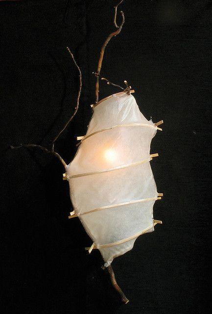 """Willow Pod 2"" (handmade paper light) by Kestrel Gates of HiiH Gallery (http://www.hiihgallery.com/) (""hiih"" on Flickr.com)"