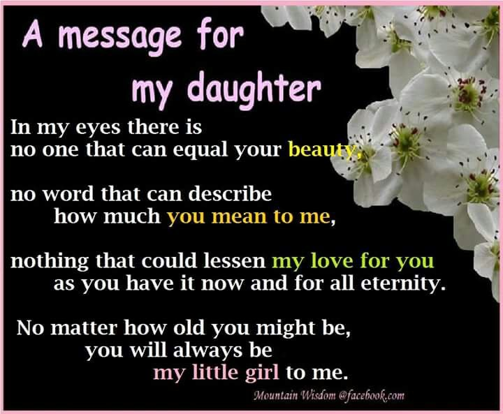 My Baby Girl Always Will Be For My Hannah Morgan Daughter