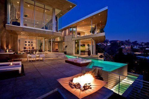 Modern cliffside open air fire.