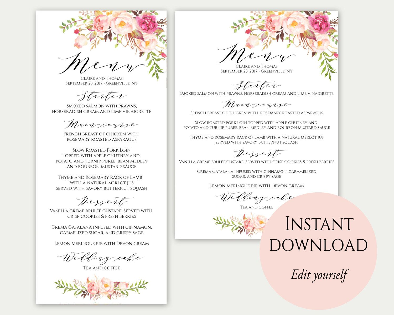 Wedding Menu Template 5x7 4x9 Wedding Menu Cards Menu Etsy Menu Card Template Wedding Menu Template Wedding Menu Cards