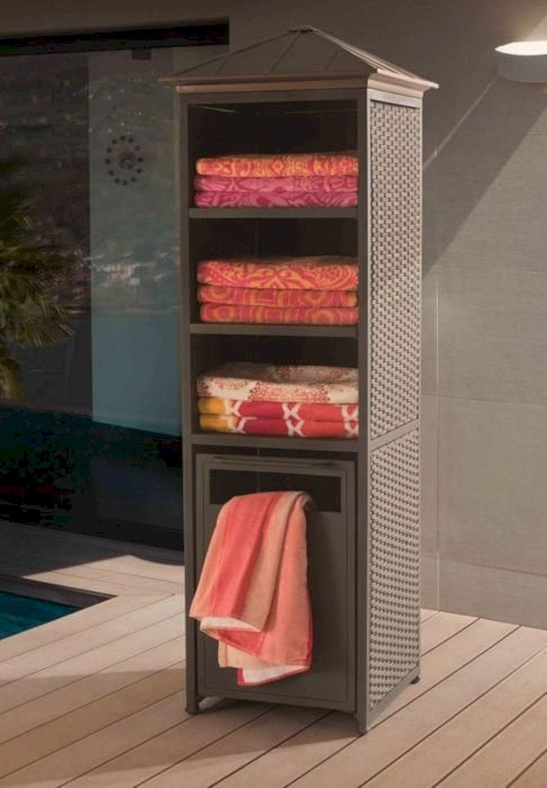 16 Awesome Pool Furniture Ideas With Images Pool Towel Storage Pool Decor Pool Towels