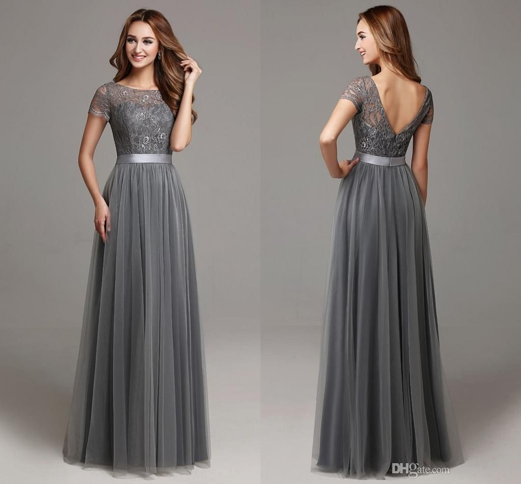 grey long modest lace tulle floor length women bridesmaid