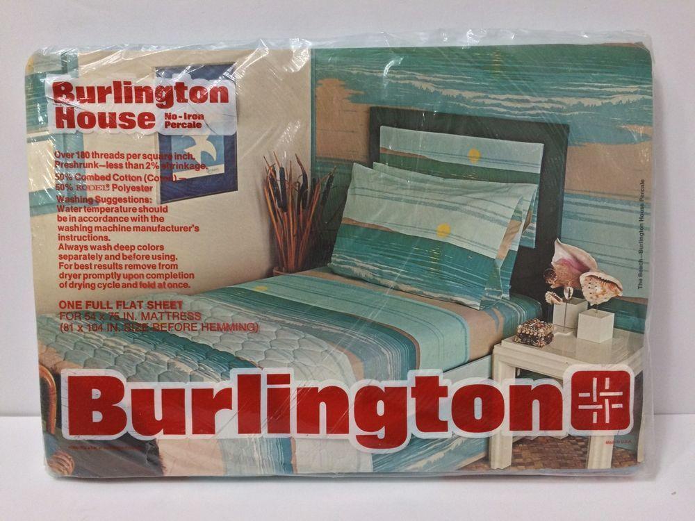 Nip Vintage 70 S Percale Full Flat Sheet Sunset Water Burlington House Usa