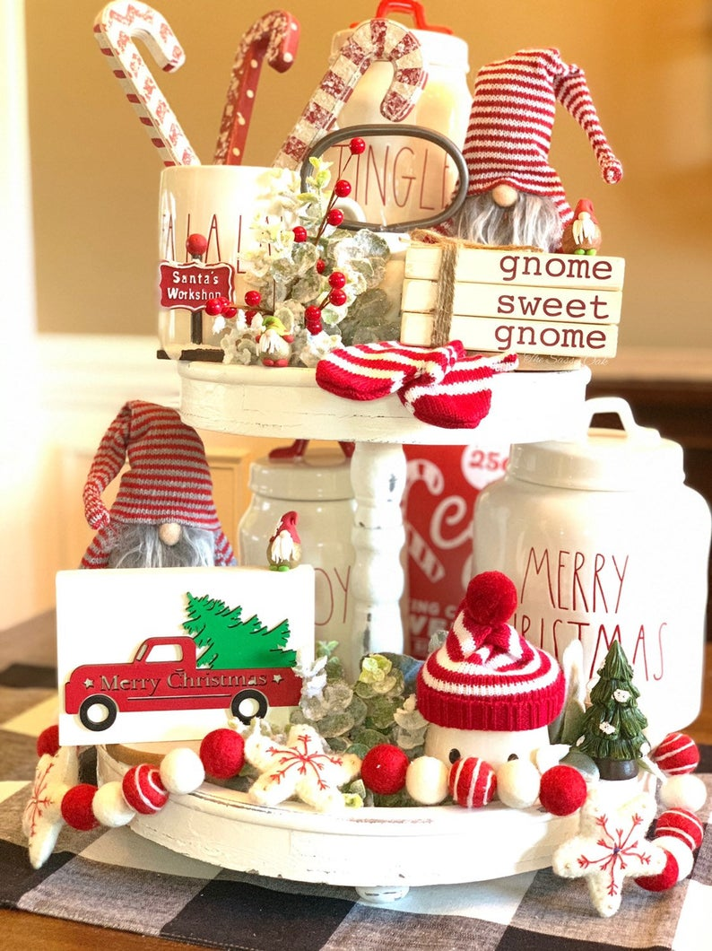 Gnome sweet gnome wood books, stamped books, Christmas stacked books, tiered tray decor – Cool christmas trees