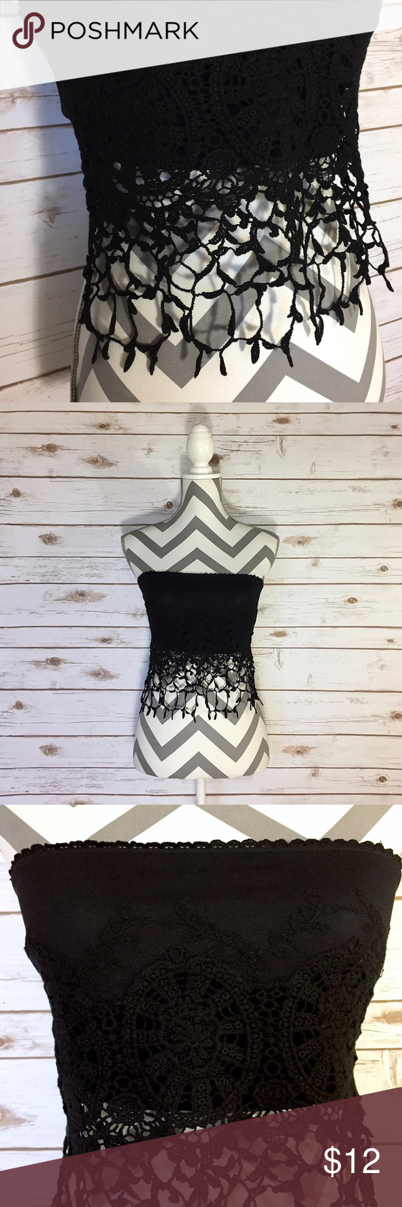 """""""Bellezza"""" Black tube top w/lace fringe-Sz M NWOT """"Bellezza Boutique""""-Black tube top w/fringe-Sz S/M. NWOT Approx Measurements laying flat Length-Front top to end of fringe-12""""/Back 4"""" Chest-14"""" Colors-Black Bellezza Tops Crop Tops"""