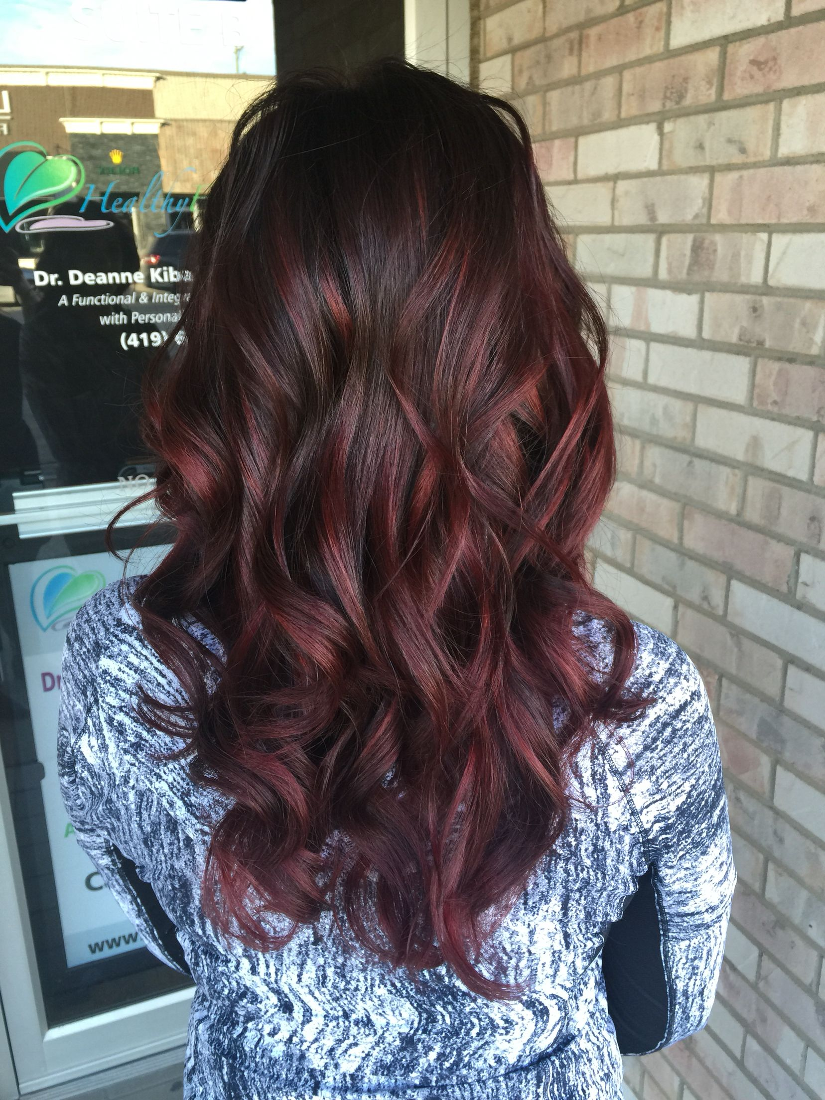 Red balayage hilites with Lia Balayage Pinterest