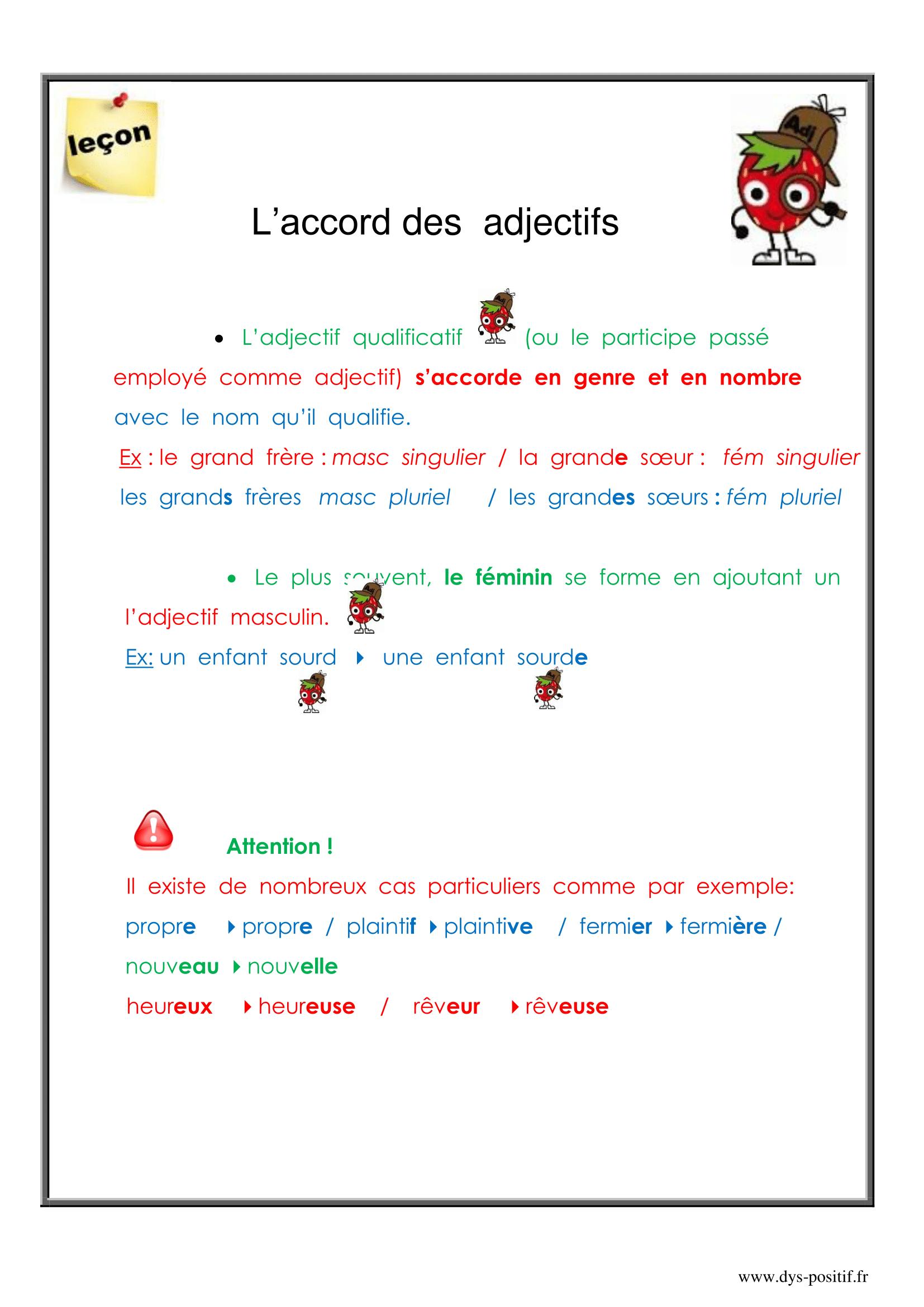 Lecon Accord Des De Couleur Orthographe Cm2 Orthographe Cm2 Accord Des Adjectifs Adjectifs