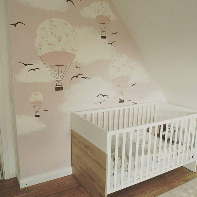 Wandbild mit Heißluftballons in rosa💗 Kinderzimmer