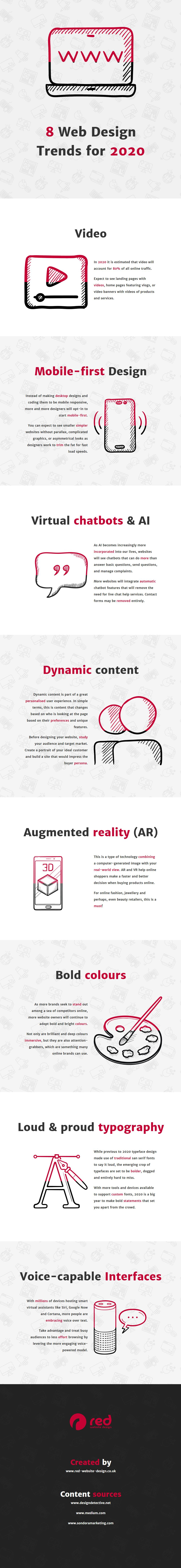 8 Web Design Trends For A Stunning Business Website In 2020 Infographic Augmented Reality Ar Bold Colou Web Design Trends Web Development Design Web Design