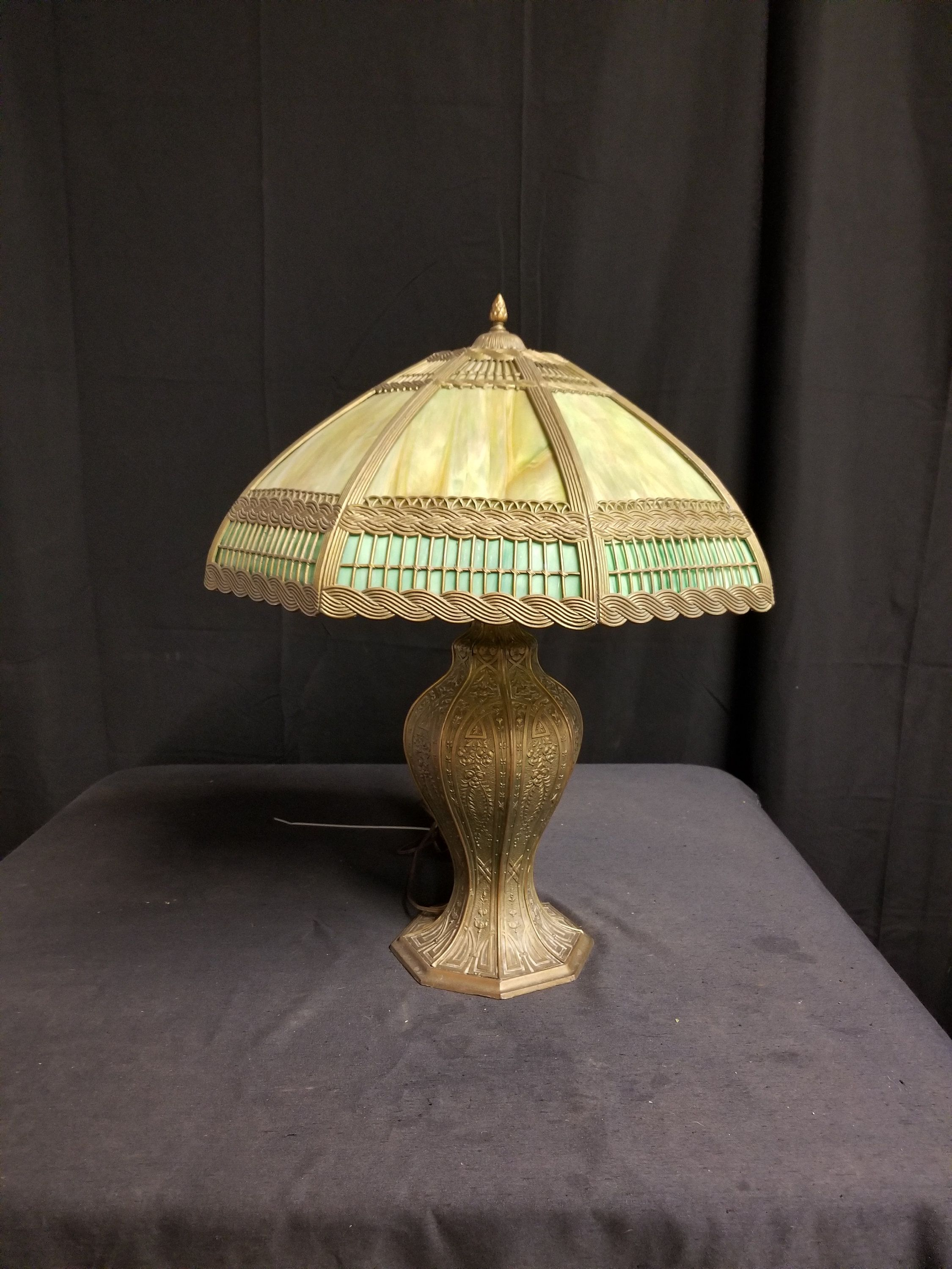 Antique Glass Dome Table Lamp Brass Victorian Table Lamp Tiffany