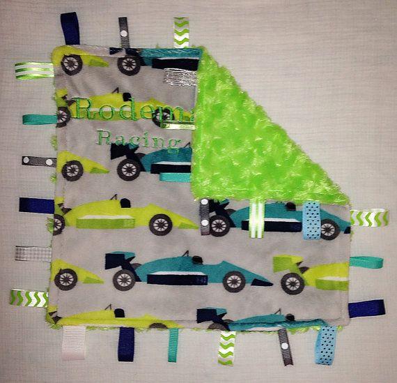Race Car Minky tag blanket