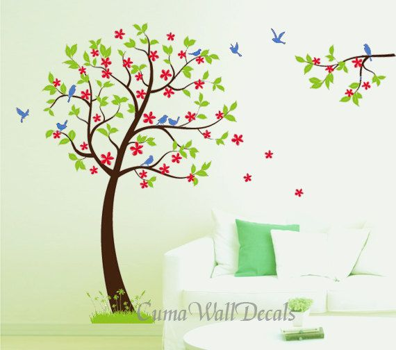 Vinyl Wall Decals Tree Wall Decals Green Tree Red Flower Blue