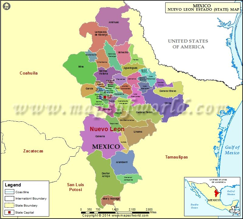 Nuevo Leon map showing the administrative divisions of the Nuevo