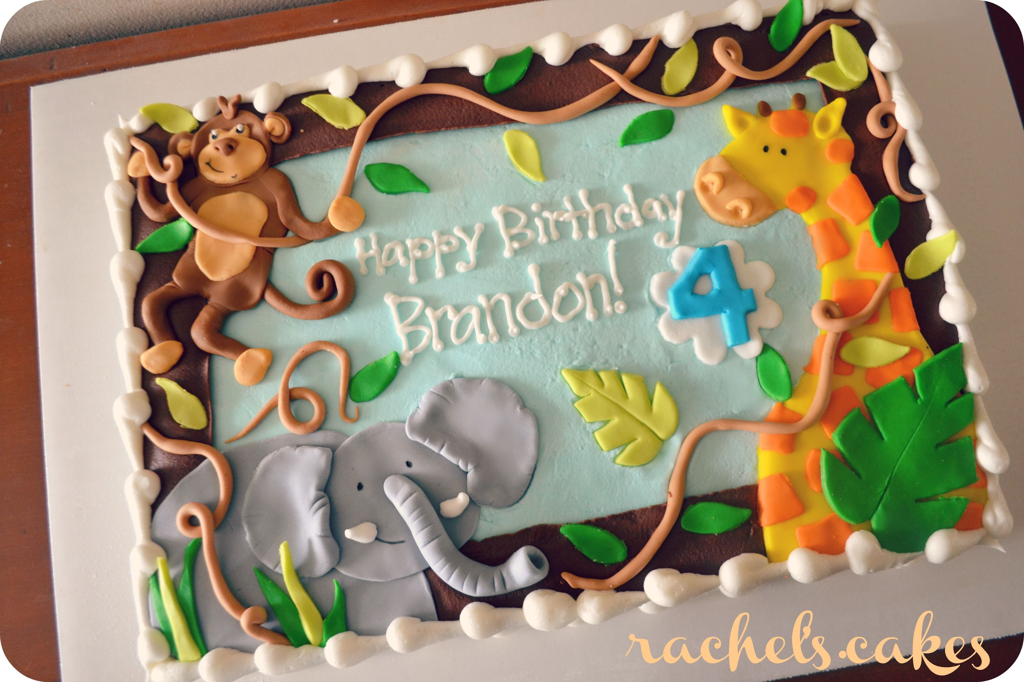 Jungle theme sheet cake My Own Cakes Pinterest Jungle theme