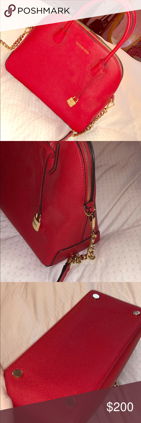 1ea922008529 Bright Red Large Mercer Leather Dome Michael Kors Brand new with tags  attached. Large size