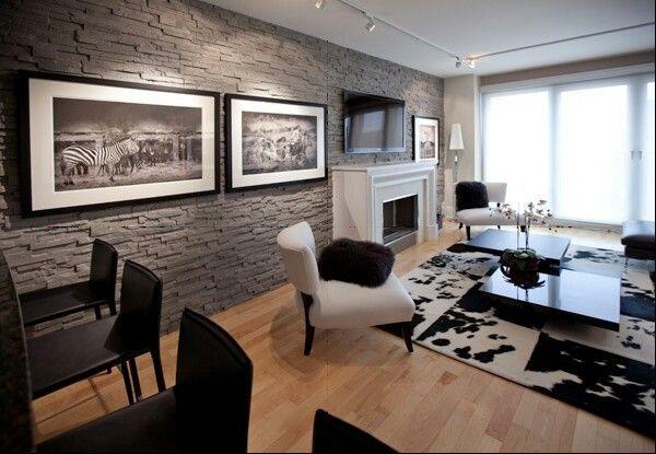 Contemporary Living With Natural Stone Feature Wall Living Room Interior Home Interior Design Grey Home Decor