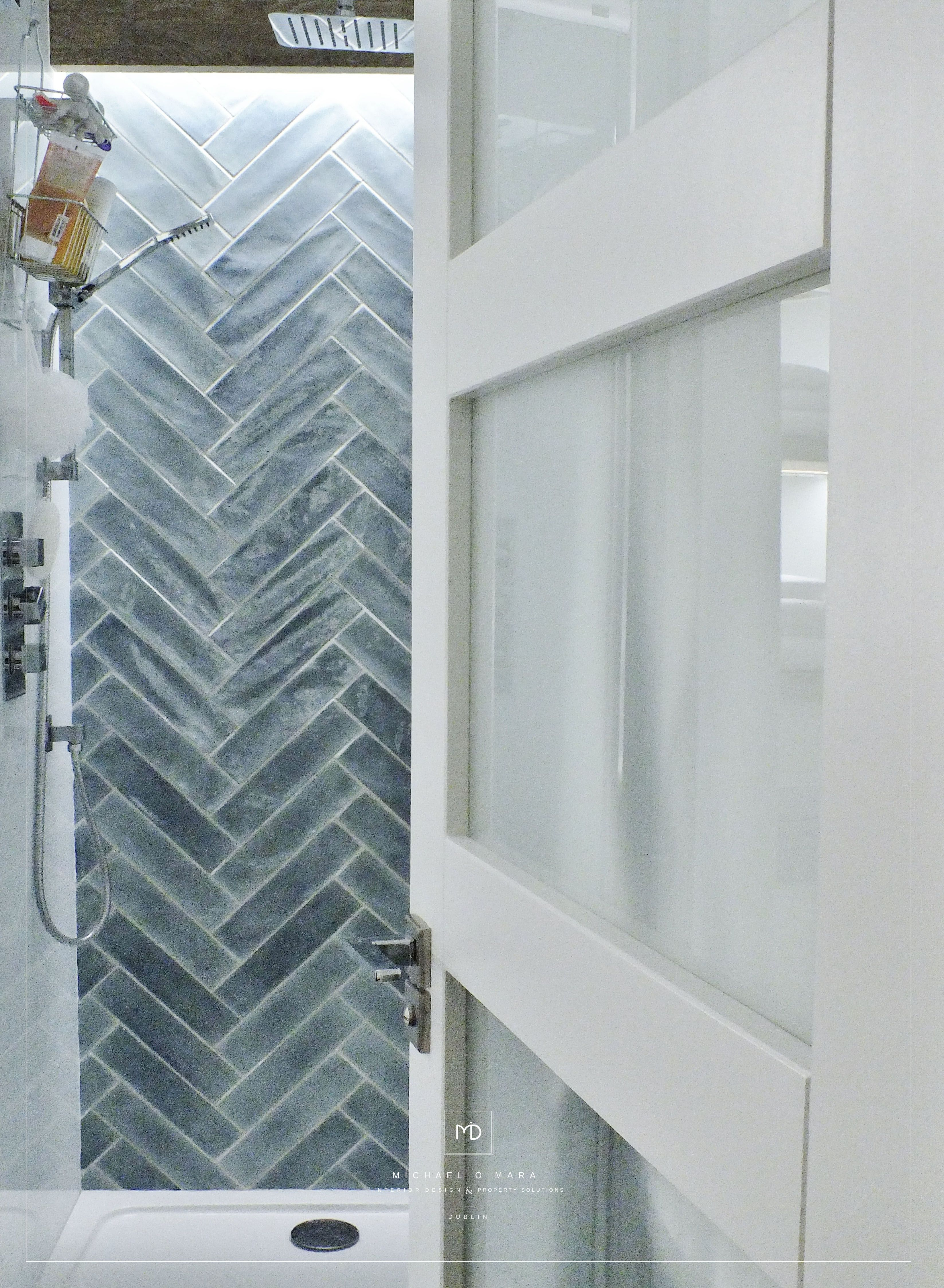 Modern contemporary bathroom by MiD with herringbone tile feature ...