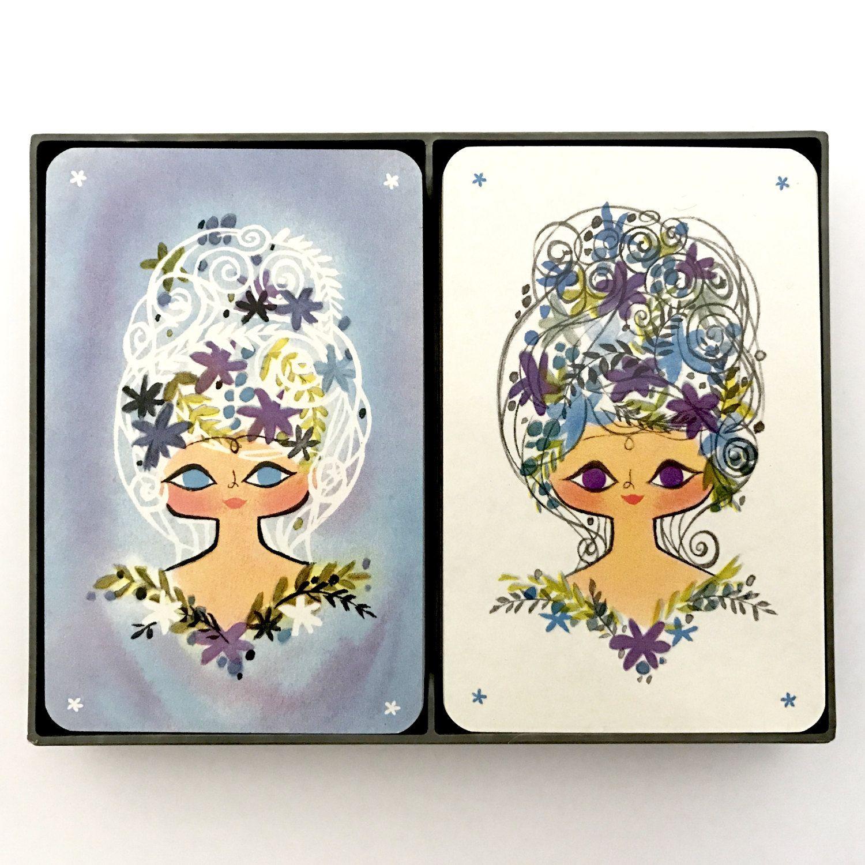 Vintage playing card swap card 1970/'s retro hallmark girls