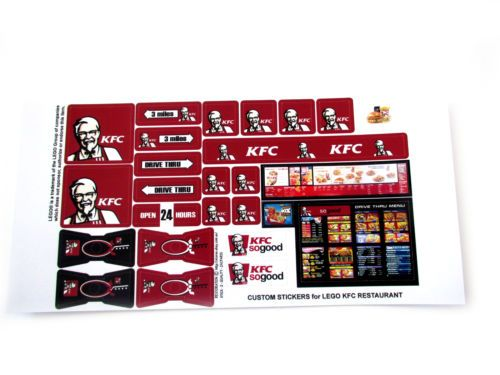 Custom die cut stickers for kfc fast food restaurant models lego 3438 size