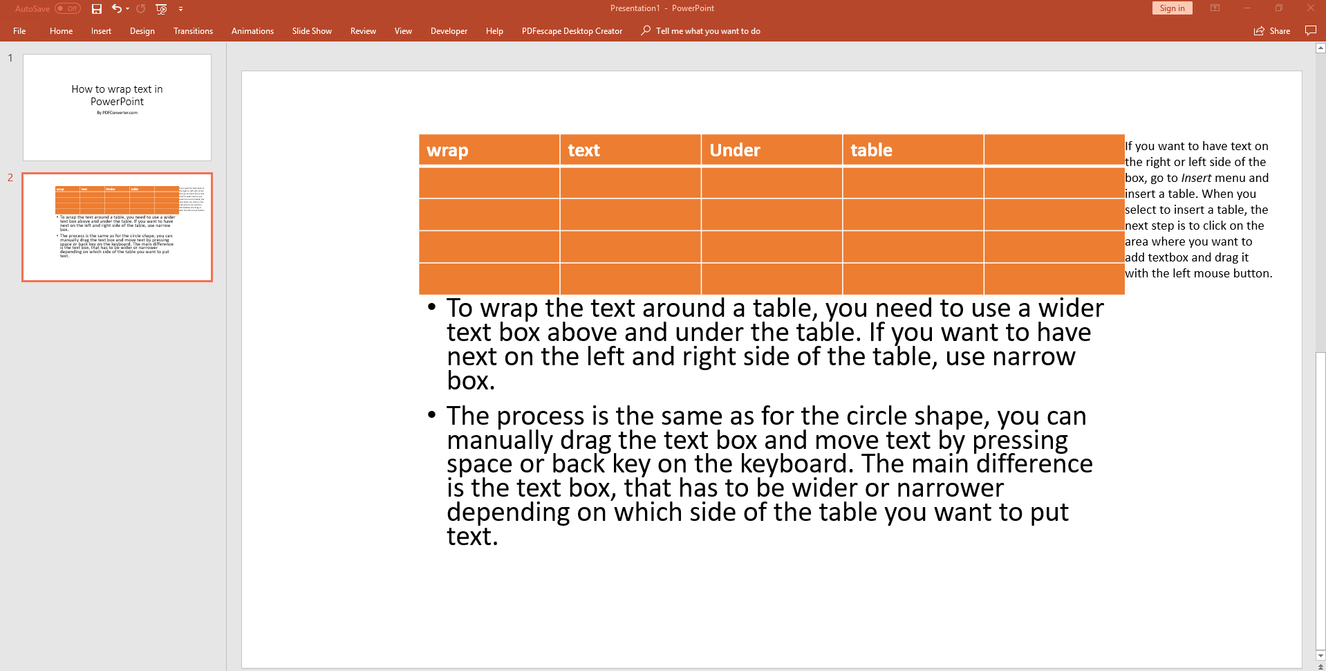 How To Wrap Text In Powerpoint Around Table Image Shape Powerpoint Text Ms Office Applications