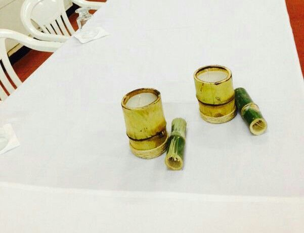 Velas com bambus