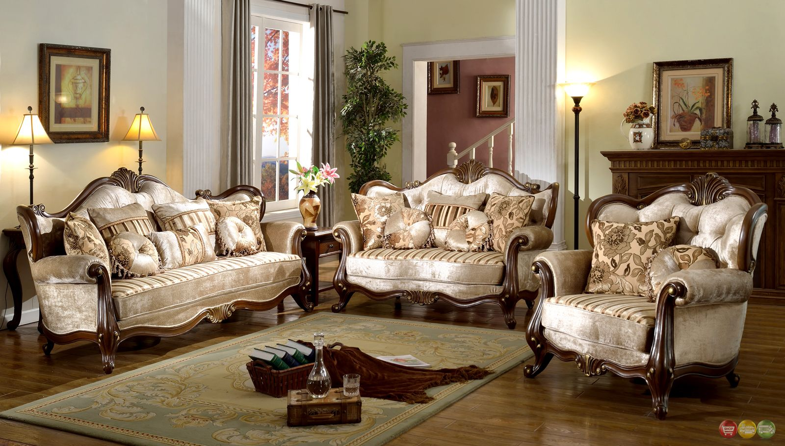 French Provincial Formal Antique Style Living Room Furniture Set Beige  Chenille shopfactorydirect com