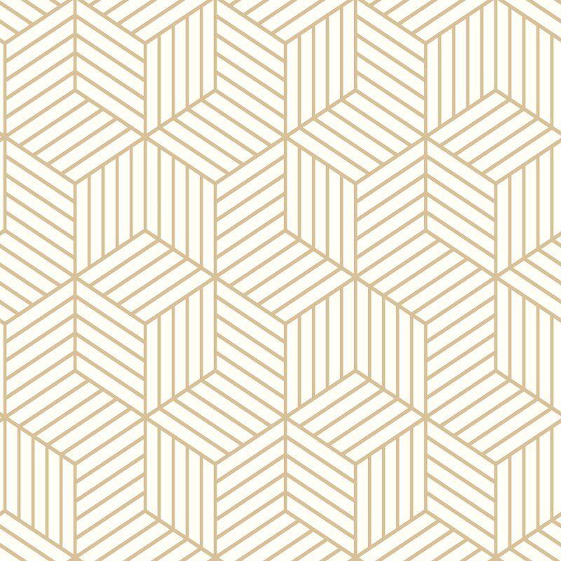 28 18 Sq Ft Striped Hexagon White Gold Peel And Stick Wallpaper Mid Century Modern Wallpaper Peel And Stick Wallpaper Hexagon Wallpaper