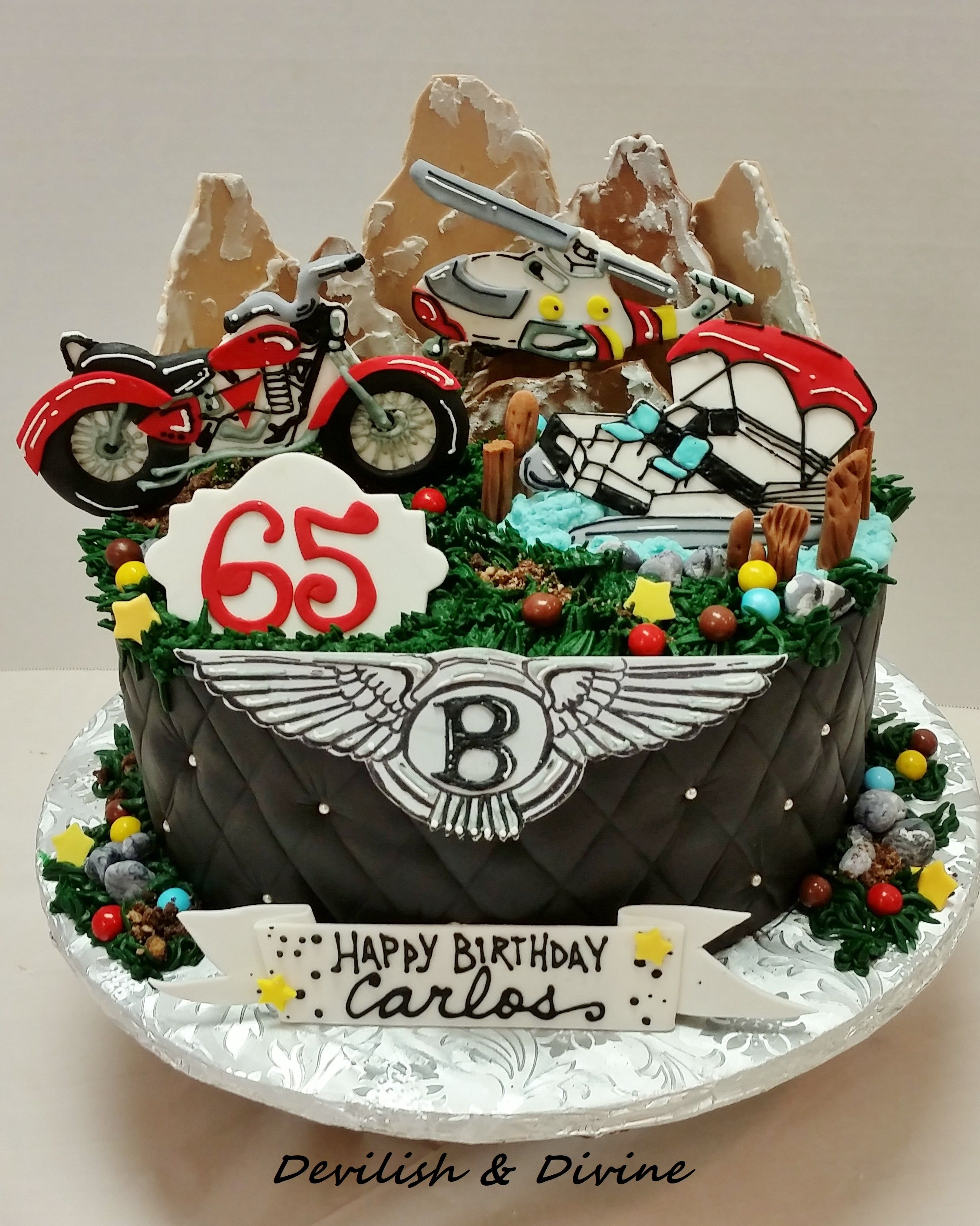 Motorcycle, helicopter, pontoon boat , 65th birthday cake