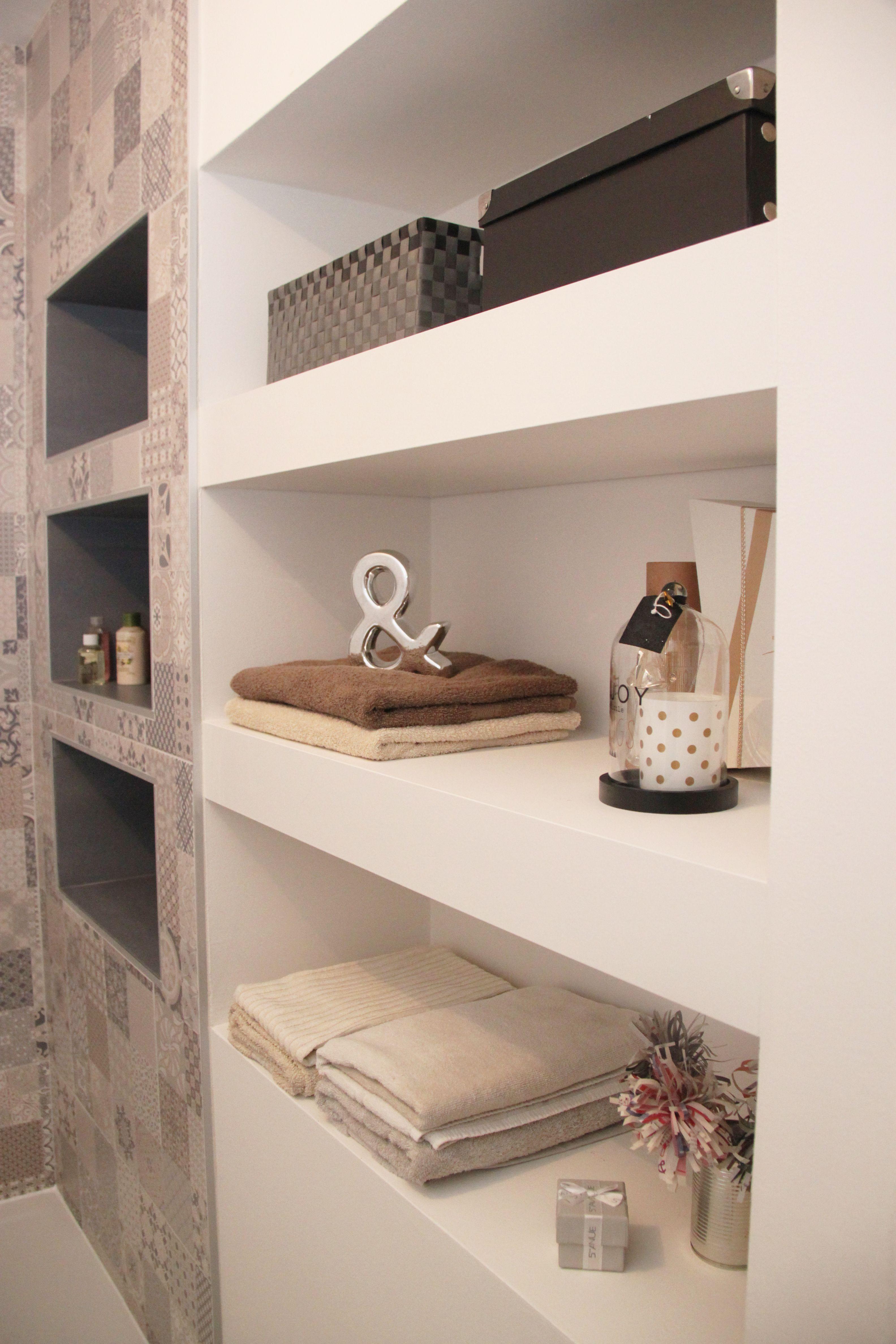 niches dans douche pour gel douche et rangement, décoration ...