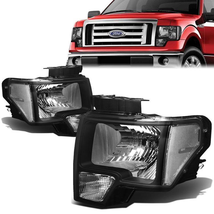 D Motoring 09 14 Ford F 150 Headlights Black Housing Plug N Play Pair Ford F150 F150 Headlights