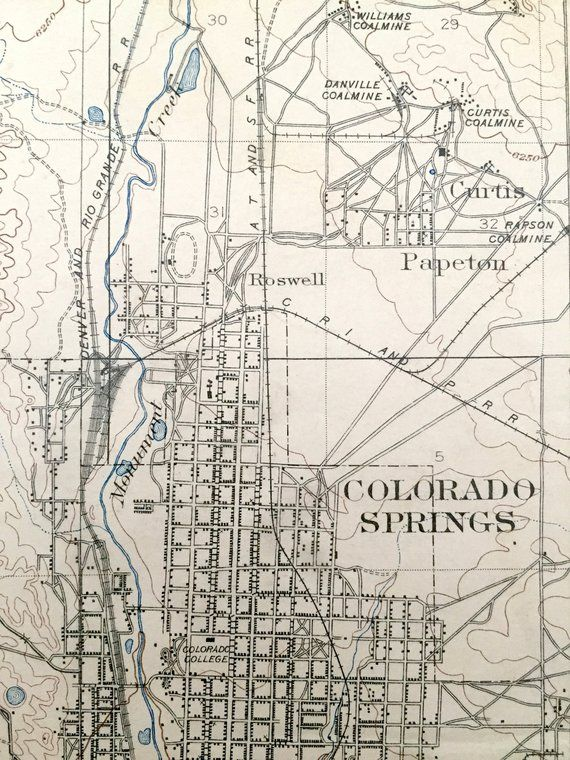 Topographic Map Colorado Springs.Antique Colorado Springs Colorado 1909 Us Geological Survey