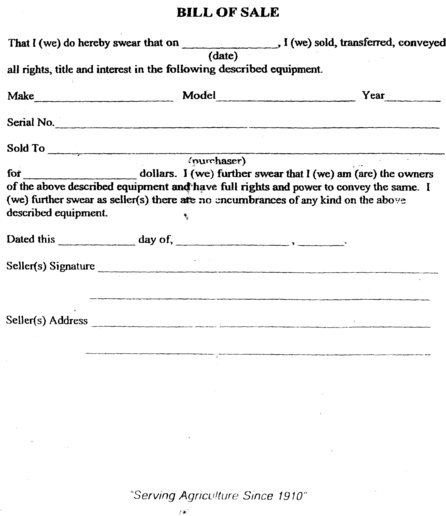 Printable Sample Tractor Bill Of Sale Form  Free Legal Documents