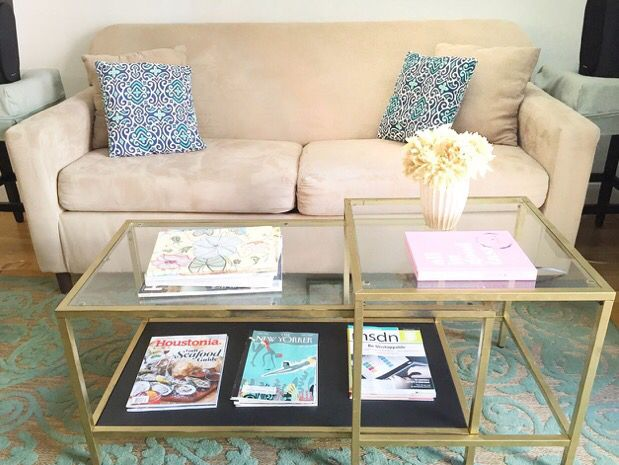 gold + glass nesting coffee table