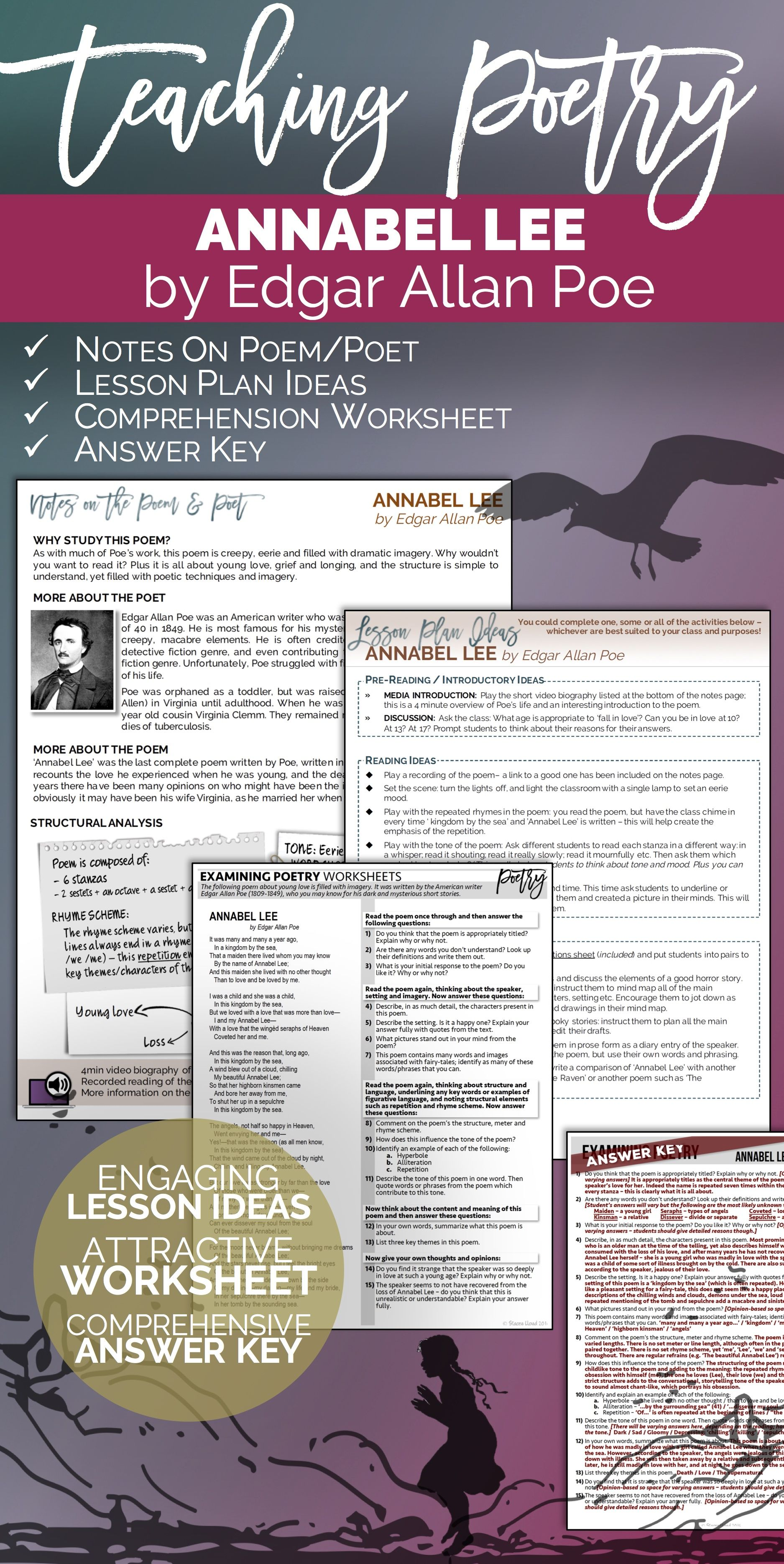 A Complete Lesson Bundle For Teaching Thi Poem Poetry Elementary Analysi Of Annabel Lee