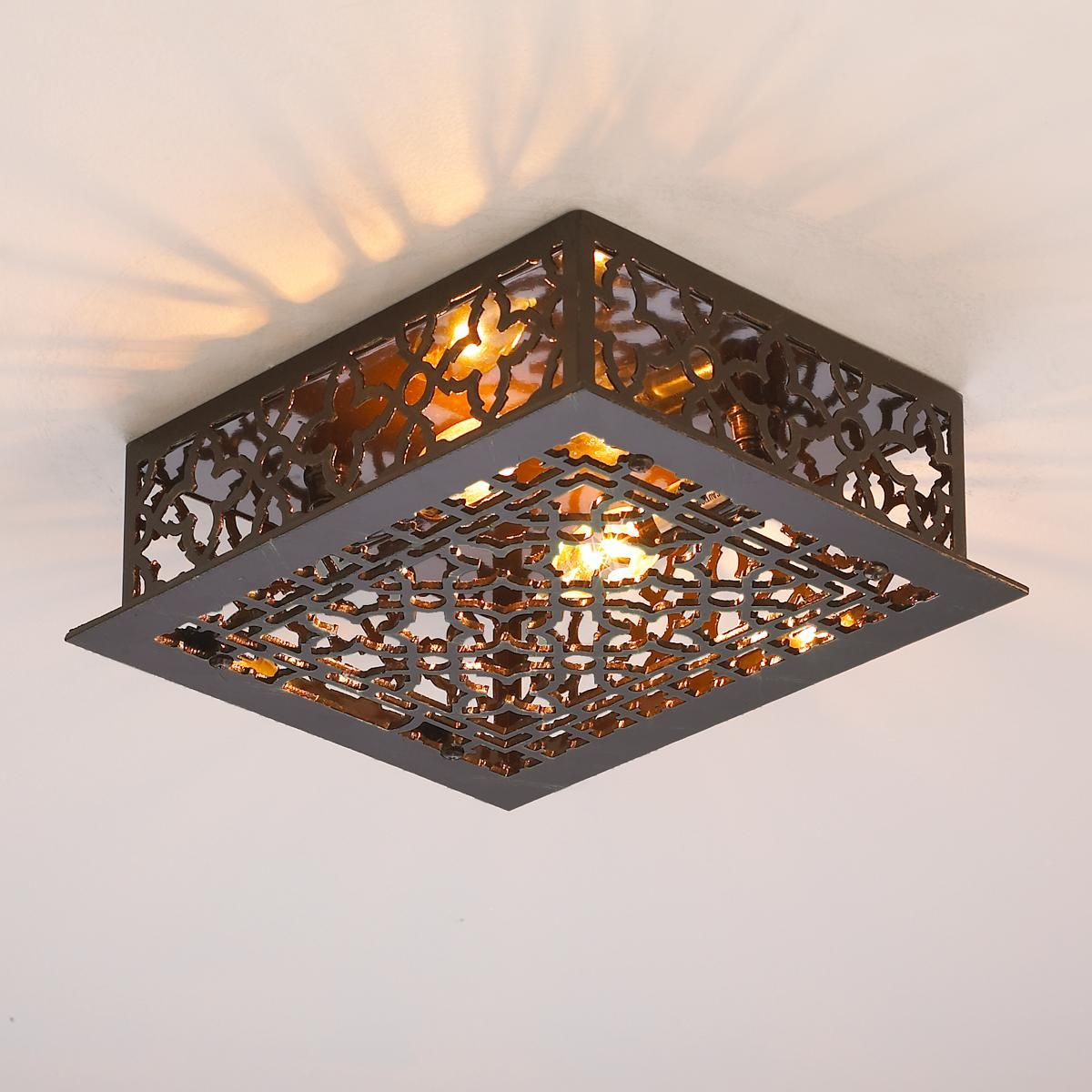 Reproduction Iron Grate Flush Mount Ceiling Light