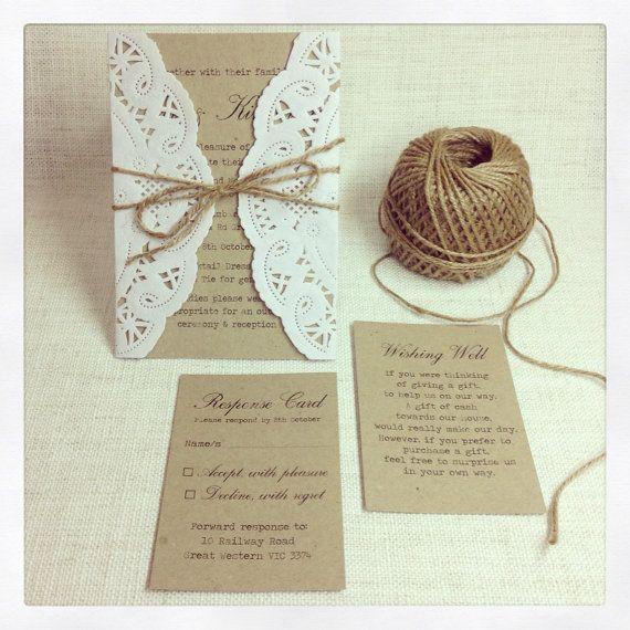 rustic wedding invitation rustic chic by stunningstationery, Wedding invitations