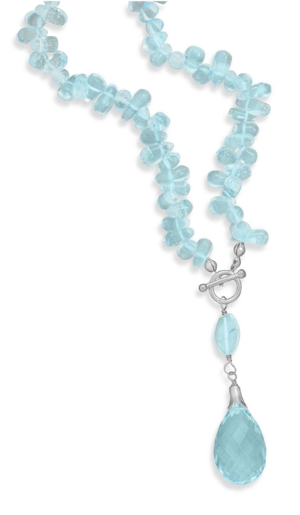 Blue Topaz Toggle Necklace with Briolette Drop