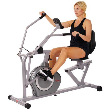 Sunny Health Fitness Sf Rb4708 Recumbent Exercise Bike Cross Training Arm Exercisers Pulse Rate Monitoring Walmart Com Recumbent Bike Workout Biking Workout Exercise Bikes