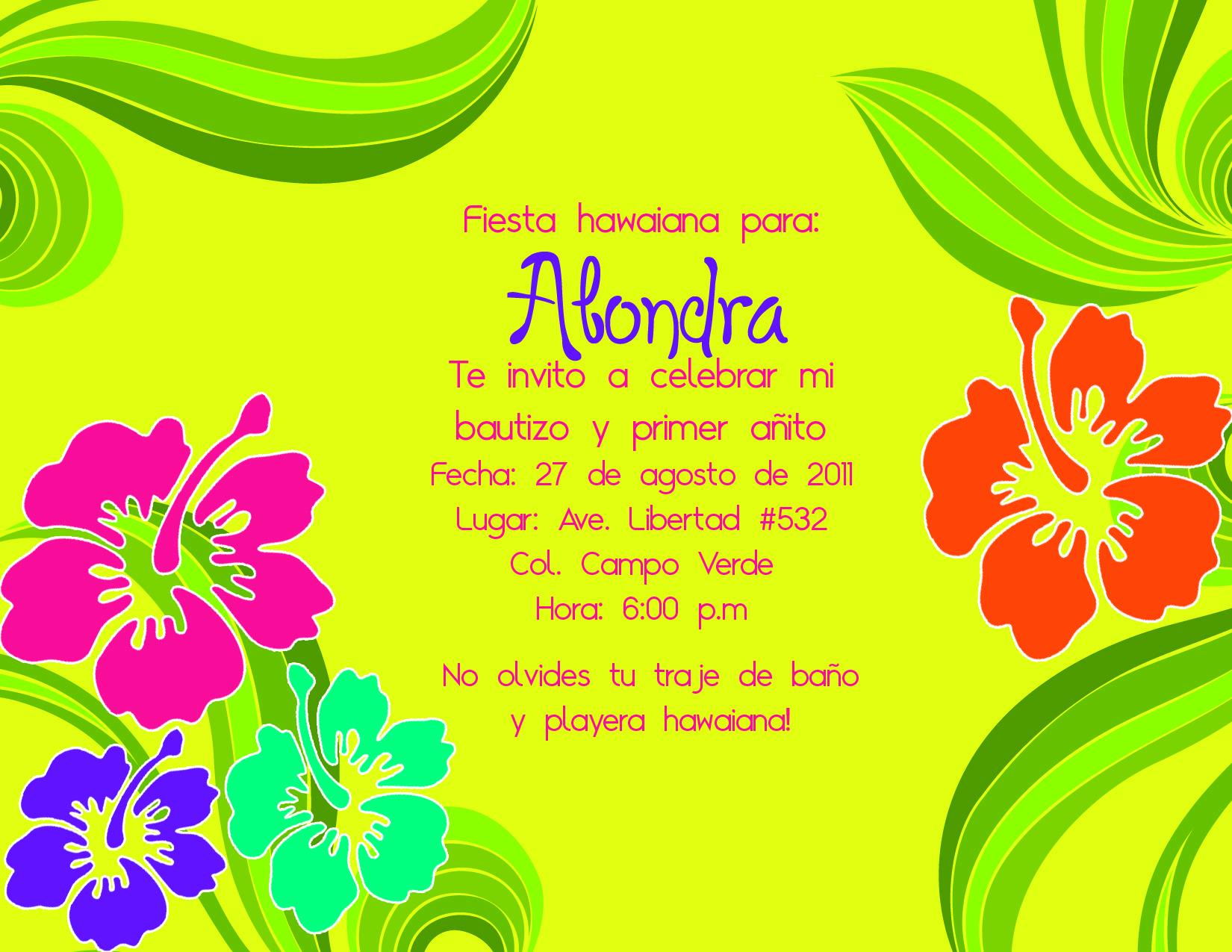 Invitacion Para Fiesta Hawaiana 1 Solo Lado Hawaiin Party Birthday Theme Handcraft