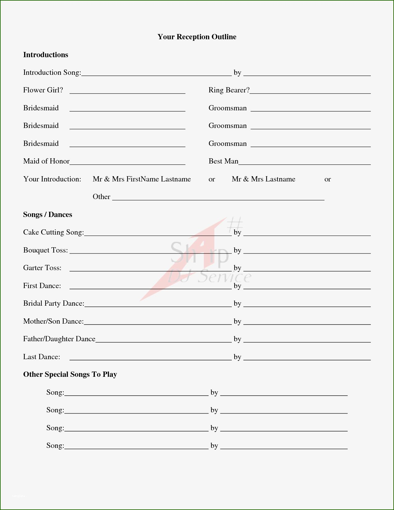 10 Sensational Wedding song List Template with Photos in