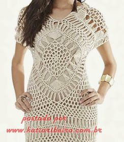 Vestido em Crochê de Grampo - Com gráfico e receita - Katia Ribeiro Crochê  Moda e af7596bc0c2