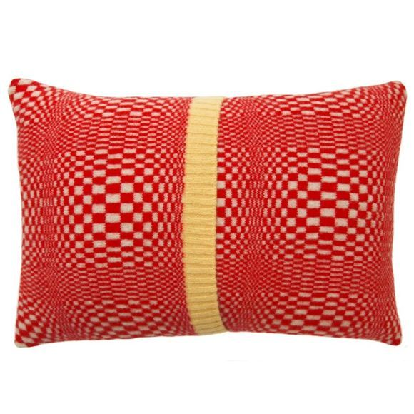 Optic Knitted Red, Cream and Yellow Cushion