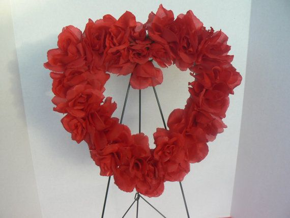 RED ROSES SILK FUNERAL FLOWERS HEART WREATH MEMORIAL ARTIFICIAL VALENTINES GRAVE